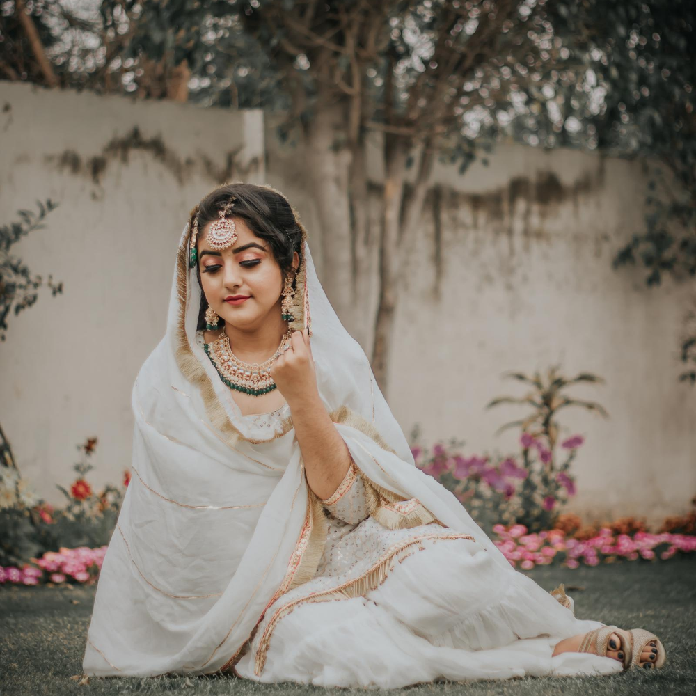 (Chikankari & mukaish) ANARKALI WITH DUPATTA